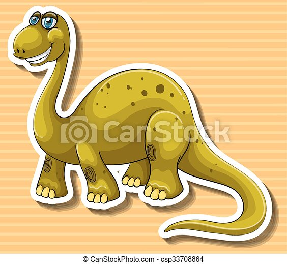 Brown dinosaur with happy face - csp33708864