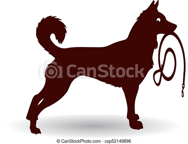 Brown Dog Silhouette, keeps leash, on white background. - csp52149896