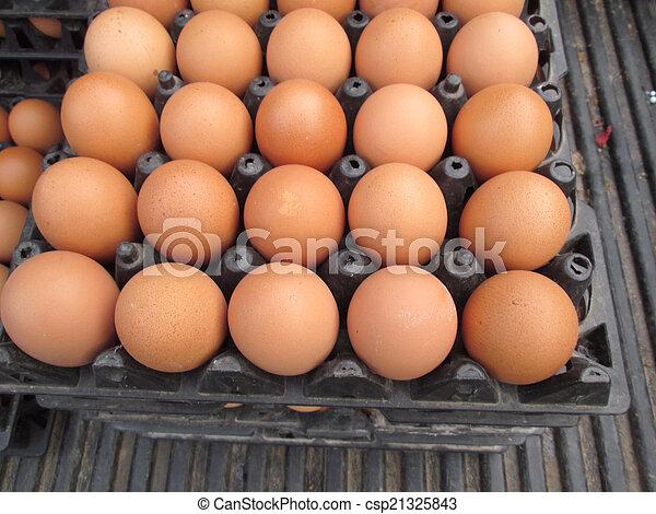 brown eggs - csp21325843