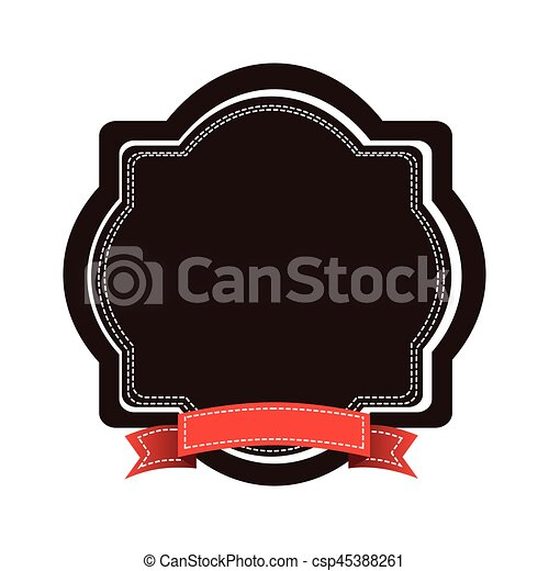 brown emblem with red ribbon icon - csp45388261