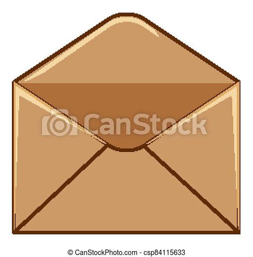 Brown envelope on white background - csp84115633