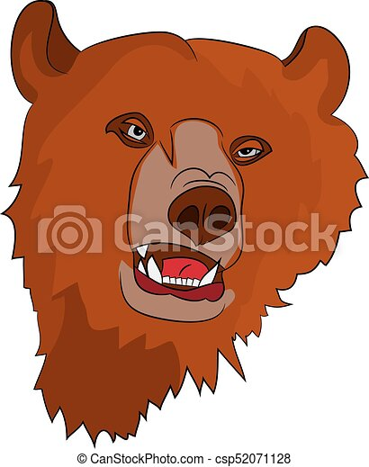 Brown evil grizzly bear (head), on white background, - csp52071128