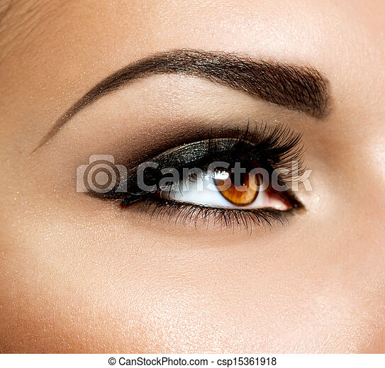 Brown Eye Makeup. Eyes Make-up  - csp15361918