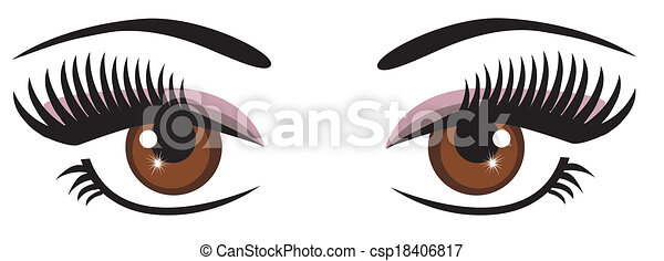 vector brown eyes with make up rh canstockphoto com dark brown eye clipart brown eyes clipart