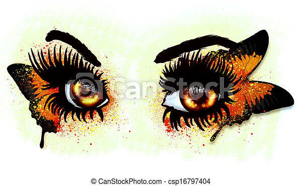 Brown eyes with butterfly - csp16797404