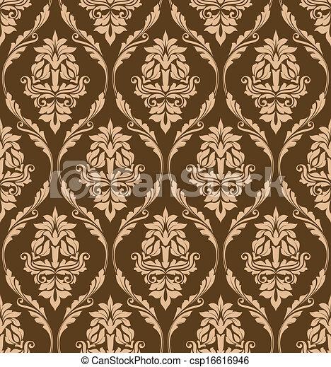 Brown floral seamless pattern - csp16616946