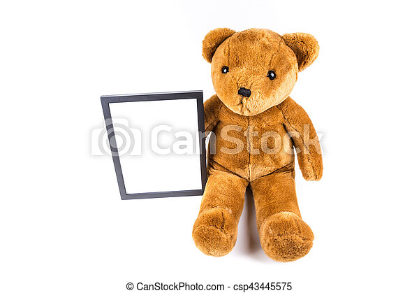 Brown Fuzzy Teddy Bear Holding A Black Frame Isolated On A White