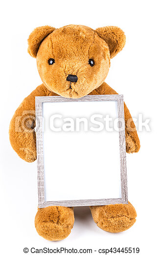 Brown fuzzy teddy bear holding a grey frame isolated on a white ...
