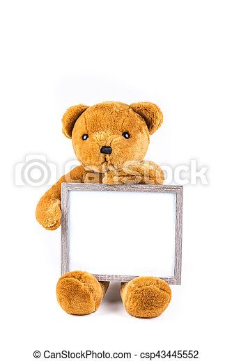 Brown Fuzzy Teddy Bear Holding A Grey Frame Isolated On A White