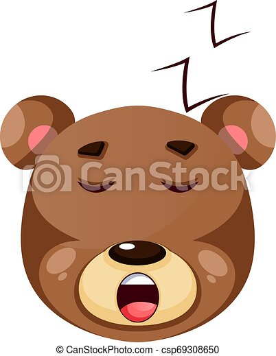 Brown grizzly bear sleeping, illustration, vector on white background. - csp69308650