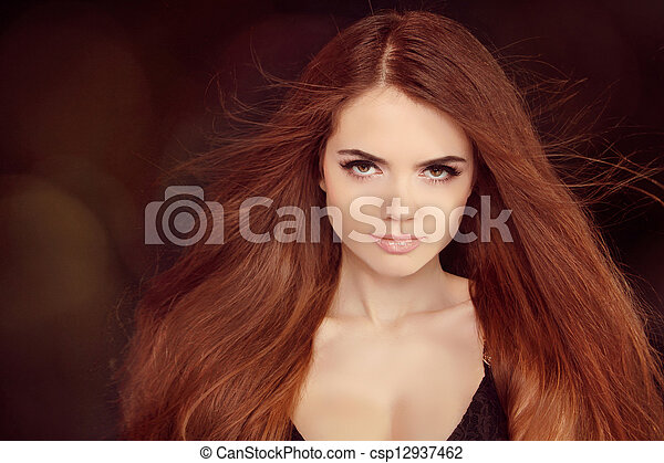 Brown Hair. Beautiful Woman with Healthy Long Hair - csp12937462