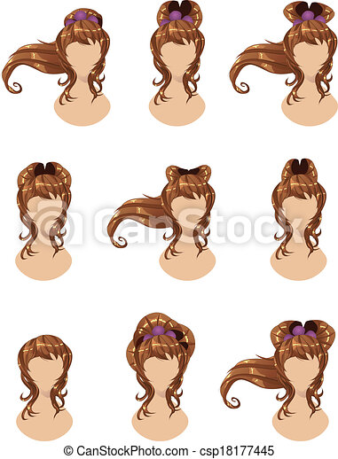 Brown hair in different styles - csp18177445
