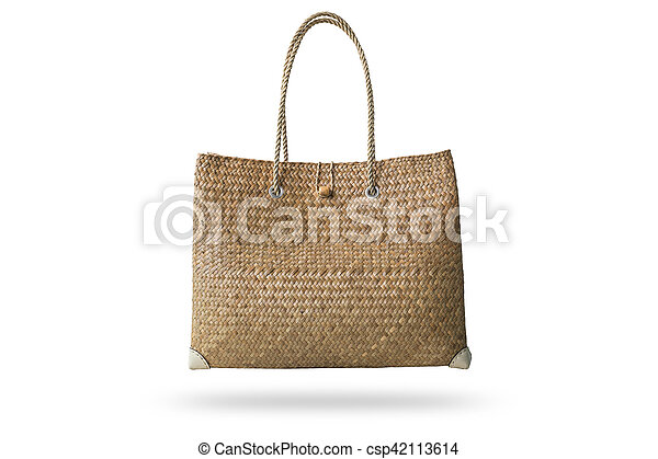 Brown handmade nature bag made from dry water hyacinth isolated on white background - csp42113614