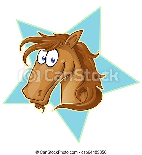 Brown Horse Face Cartoon Vector Illustration On Star