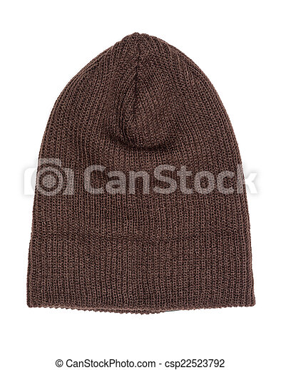 brown knitted hat isolated on white background - csp22523792