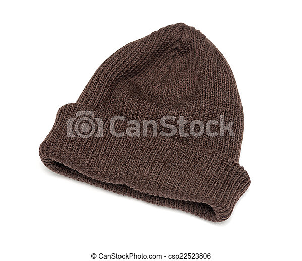 brown knitted hat isolated on white background - csp22523806