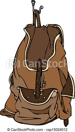 brown leather backpack vector isolated vector
