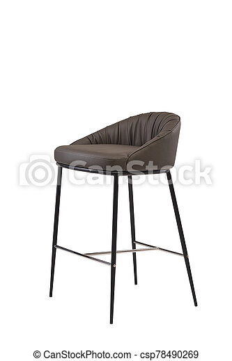brown leather bar stool isolated on white background. modern brown bar chair front view. soft comfortable upholstered tall chair. interrior furniture element. - csp78490269