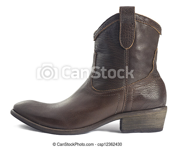 Brown Leather Cowboy Boot isolated on White - csp12362430