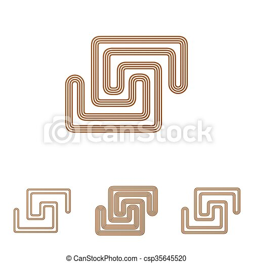 Brown line scientific logo design set - csp35645520