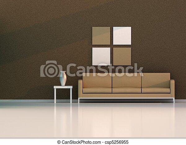 brown living room , modern room - csp5256955
