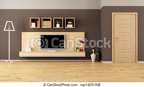 Brown Living Room With Led Tv Minimalist Living Room With Cabinet Shelves And Led Tv Canstock