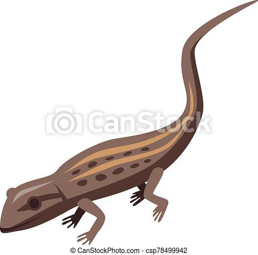 Brown lizard icon, isometric style - csp78499942
