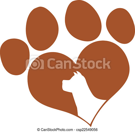 Brown Love Paw Print With Dog Head - csp22549056
