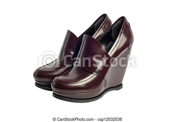 Brown luxury female leather heeled shoes isolated on white background - csp12032538