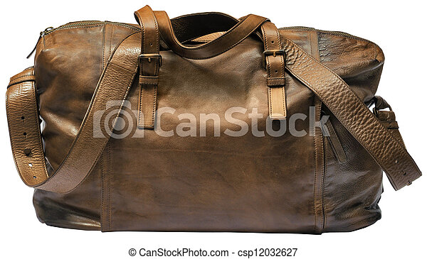 brown luxury travel leather bag isolated on white background - csp12032627