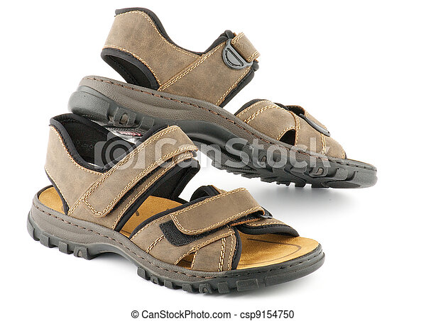 Brown man's Shoes Sandals with Velcro fastener - csp9154750