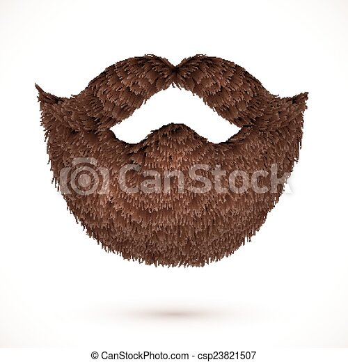 Brown mustaches and beard isolated on white background - csp23821507