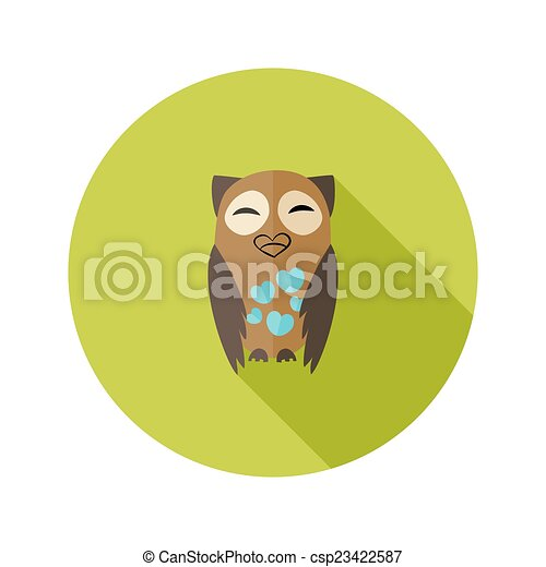 Brown Owl Flat Icon with Hearts over Green - csp23422587