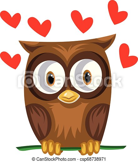Brown owl in a green branch with red hearts vector illustration on white background. - csp68738971