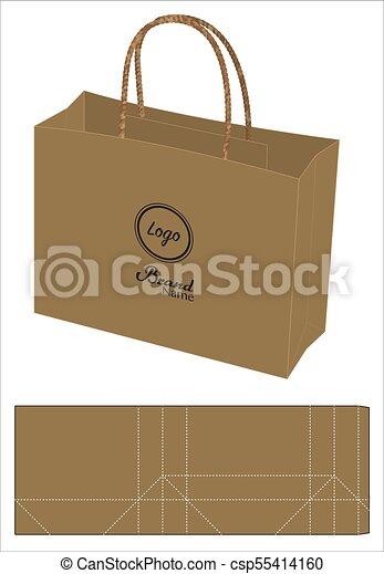 Brown paper bag die-cut template mock up 3d.