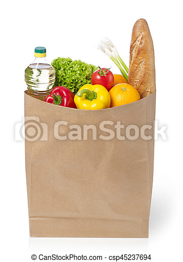 Brown paper bag full with groceries - csp45237694