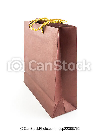 brown paper bag isolated on white background - csp22388752
