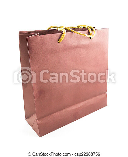 brown paper bag isolated on white background - csp22388756