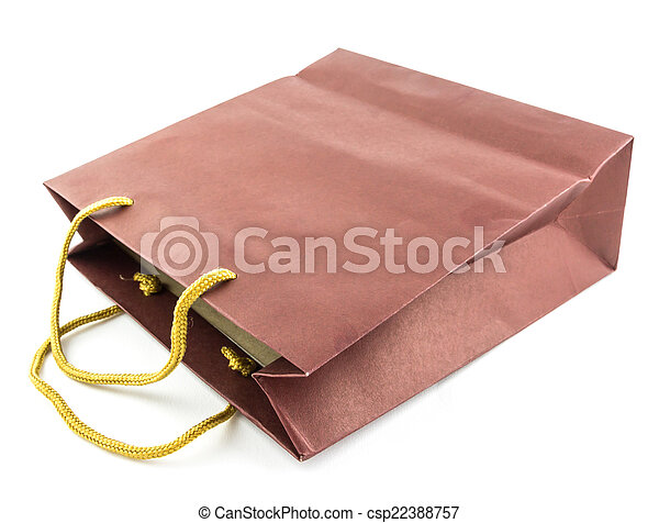 brown paper bag isolated on white background - csp22388757