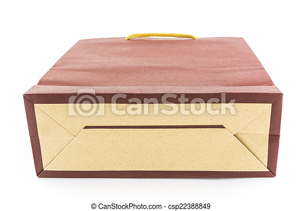 brown paper bag isolated on white background - csp22388849