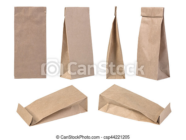 brown paper bag packaging template isolated on white background
