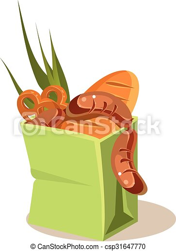Brown Paper Bag With Food. Vector Illustration - csp31647770