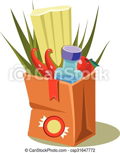 Brown Paper Bag With Food. Vector Illustration - csp31647772