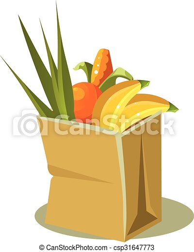 Brown Paper Bag With Food. Vector Illustration - csp31647773