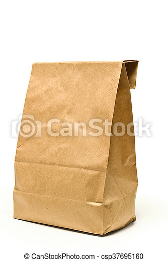 Lunch Time Closeup Of Brown Paper Bag Isolated On White