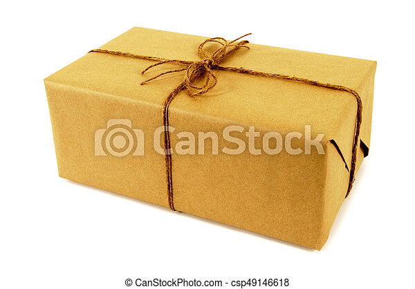 Brown paper package tied with string - csp49146618