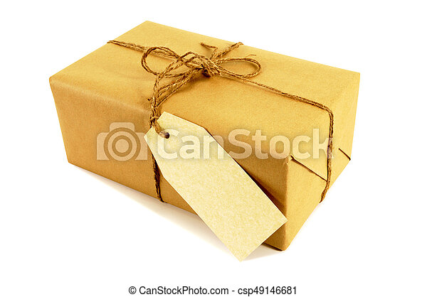 Brown paper package tied with string - csp49146681