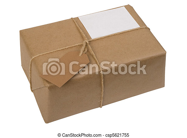 brown paper package tied with string with  label  - csp5621755
