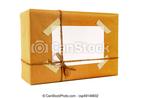 Brown paper package tied with string - csp49146602