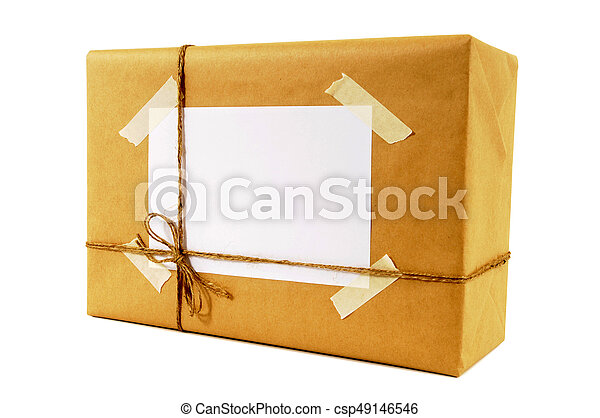 Brown paper packet tied with string - csp49146546